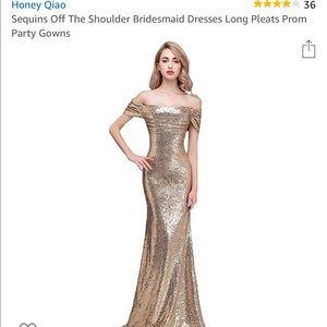 Gold Sequins Off The Shoulder Bridesmaid Dress